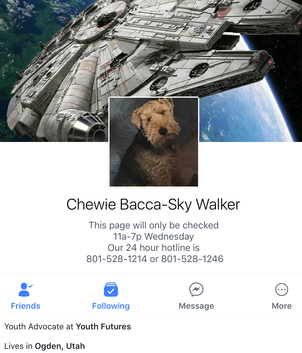 Watch for daily Facebook Posts from Chewie Bacca-Sky Walker